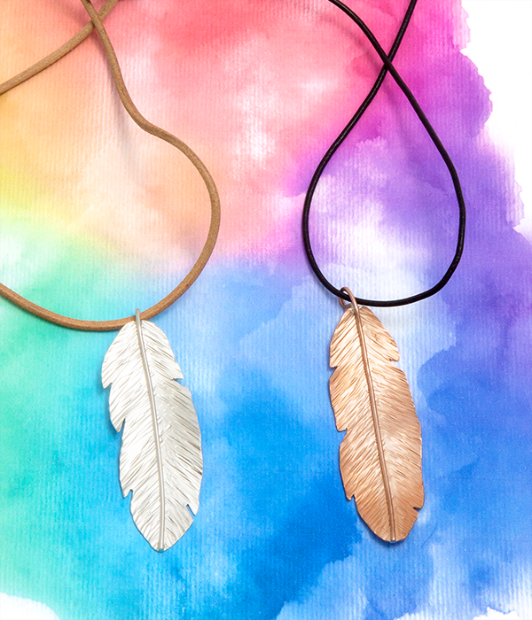 copper and silver feather necklaces